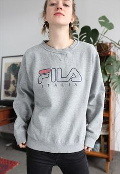 fc9142754459e5 VINTAGE FILA GREY SWEATSHIRT Grey Sweatshirt, Graphic Sweatshirt, Jumpers  For Women, Tommy Hilfiger