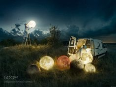 Full Moon Service - This is a photo I've been working on from now and then for the past 8 months. Shot in late summer of 2016 a beautiful calm evening in the middle of Sweden. I brought out 7 rice lamps 7 light bulbs an electric generator a car and two models out in a field. The main part that has been retouched in this photo is to replace the rice ball with a moon texture the light and the mood was very close to what you see in the photo. I would love to hear your thoughts about it. What is…