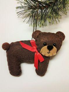 Felt Brown Bear Christmas Ornament - Personalized Ornament - Bear Ornament - Christmas Decor - Woodland Decor  Felt Bear - Woodland Animal