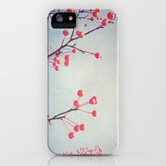 Scarlet iPhone & iPod Case by Olivia Joy StClaire - $35.00 phone case, Samsung case, red, scarlet, blue, periwinkle, winter, autumn, berries, tree, nature, photography, art, modern