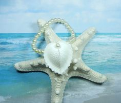Seashell Pearl Wrist Corsage  Seaheart Bracelet by ShellScapes