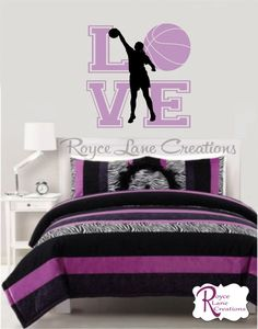Girls Room Basketball Love Varsity Letter Vinyl Wall Decal by Royce Lane Creations