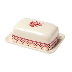 red & white butter dish.