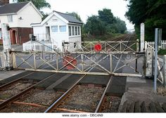 Manually operated railway level crossing at Cantley, Norfolk, England - Stock…