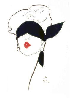 Illustration by René Gruau #fashion #red #lips
