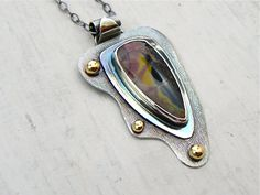 Butterfly Jasper 14k Gold and Sterling Necklace Wild Prairie Silver Jewelry