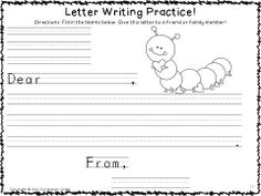 Letter writing practice...great for Valentine's Day!