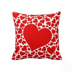 """Red hearts on white love pillow. Throw Pillow 20"""" x 20""""."""