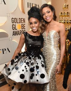 Inside the Golden Globes: Janelle Monáe in Armani Privé and Naomie Harris in Armani Privé