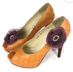 Flower  Shoe Clips  Wedding Shoe Clips Purple Clip by SoutacheOOAK