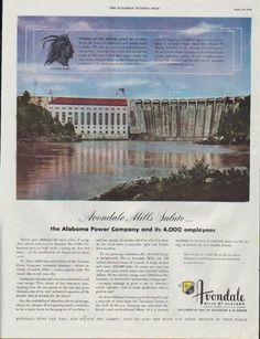 "1948 AVONDALE MILLS vintage print advertisement ""Chief Red Eagle"" ~ Avondale Mills Salute ... the Alabama Power Company and its 4000 employees ... Avondale Mills of Alabama ~"
