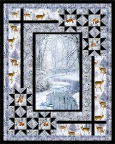 Quilting Projects, Quilting Designs, Quilting Ideas, Sewing Projects, Fabric Panel Quilts, Fabric Panels, Quilt Boarders, Wildlife Quilts, Attic Window Quilts