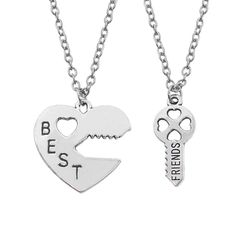 palettei Best Friend Necklaces Key to The Heart Pendant Necklaces Lock Key Best Friend 2 Piece BFF Necklaces & Pendants, Shoes & Jewelry, Bestfriend Necklaces For 2, Matching Necklaces For Couples, Bff Necklaces, Best Friend Necklaces, Couple Necklaces, Diamond Cross Necklaces, Heart Pendant Necklace, Necklace Set, Babygirl Necklace