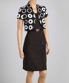 Take a look at this Black & White Circle Belted Sheath Dress & Shrug - Women by Voir Voir on #zulily today!