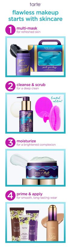 Want your makeup to look flawless? Start with taking care of your skin with these easy steps! #tartecosmetics #tarteskin