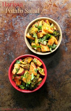 Harissa Potato Salad   Strength and Sunshine @RebeccaGF666 Two types of potatoes, broccoli, and eggplant roasted to perfection and paired with a smoky and spicy harissa sauce. A harissa potato salad, gluten-free, vegan, and paleo, that will elevate you bland dinner side dish to an all new level!