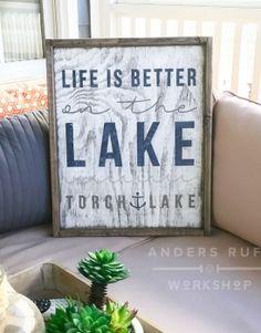 Life is Better At The Lake Framed Wood Sign – 18×21 #arworkshop www.arworkshop.com