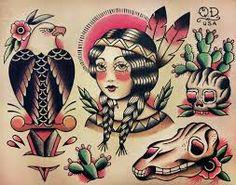 Native Indian girl, bald eagle sword, cactus, skull traditional tattoos