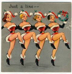 super kitsch vintage dancing girls 50's rockabilly pin up art Vintage Christmas card