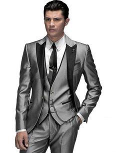 Custom Made Groom Tuxedos Black Suit Red Vest Notch Lapel