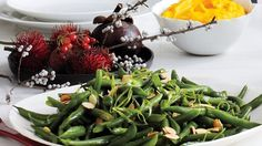 Green Beans with Miso and Almonds Recipe Thanksgiving Green Beans, Thanksgiving Sides, Asian Vegetables, Veggies, Cooking Green Beans, Green Bean Recipes, Rice Vinegar, Almond Recipes, Bon Appetit
