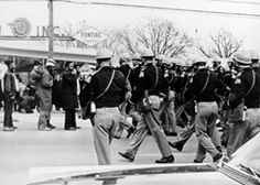 Marchers meet the Police  The Selma to Montgomery March. I think the fact that these events happened during the month I was born has something to do with my commitment to civil rights.