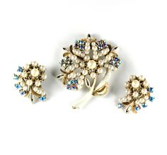 Florenza White Enameled Rhinestone Faux Pearl Flower Brooch and Earrings   Offered by  Ruby Lane Shop Anna's Vintage Jewelry