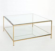 "Issy Square Gold and Glass Coffee Table  http://www.vintagescout.com/shop/# $1,600 37"" x 37"" x 18"" in stock"