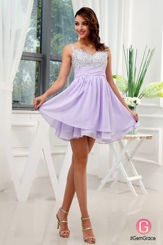 Beaded short chiffon lavender homecoming party dress