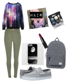 """""""Science"""" by faithypoo578 on Polyvore featuring Chicwish, River Island, Sperry Top-Sider, Herschel Supply Co., Clair Beauty, NARS Cosmetics and Chanel"""