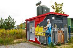 Art-EFX-Trafostation mit Einblick auf Technik, #artefx, #murals, #muralpainting, #streetart, #graffitiauftrag, #substation, #illusionsmalerei, #dahlewitz