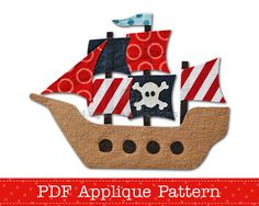 Pirate Ship Applique Template PDF Applique by AngelLeaDesigns, $2.30
