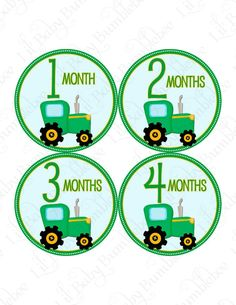 Monthly Onesie Stickers - Zion - John Deere Inspired Green and Yellow Tractor - Great Baby Shower Gift and Photo Prop Baby Month Sticker. $9.00, via Etsy.