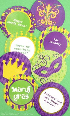 Party Ideas by Mardi Gras Outlet: Free Mardi Gras                                       printable stickers & labels