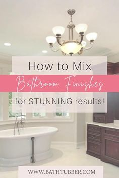 You can mix finishes in the bathroom if you know the rules! Get designer tips to will help you achieve stunning results. Learn how to easily create an upscale, custom look. Bathroom finishes. Bathroom finishes ideas. Bathroom finishes mixing. Mixing metal finishes in bathroom. Mixing finishes in bathroom.#bathroomfinishes #bathroomfinishesideas #bathroomfinishesmixing #mixingmetalfinishesinbathroom #mixingfinishesinbathroom Very Small Bathroom, Small Tub, Spa Like Bathroom, Bathroom Ideas, Elegant Bathroom Decor, Tub Tile, Tub Shower Combo, Diy Bathroom Remodel, Relaxing Bath