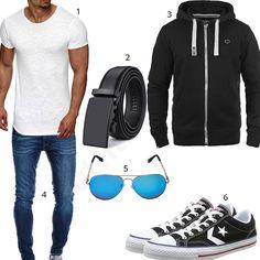 Männer-Outfit mit weißem XXL-Shirt, Solid Hoodie, Jack & Jones Jeans, Feililong Sonnenbrille, Converse Sneakern und schwarzem Ledergürtel. #outfit #style #fashion #menswear #mensfashion #inspiration #shirts #weste #cloth #clothing #männermode #herrenmode #shirt #mode #styling #sneaker Neue Outfits, Komplette Outfits, Outfits For Teens, Sport Outfits, Trendy Outfits, Sport Fashion, Love Fashion, Mens Fashion, Emporio Armani