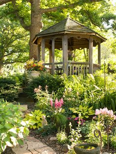 Gather at the Gazebo - A wood structure offers a restful spot at the center of a woodland garden.