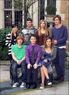 Harry Potter and the Goblet of Fire cast. Cho Chang, Victor Krum, Fleur Delacour, Cedric Diggory, Ron Weasley, Harry Potter and Hermione Granger.