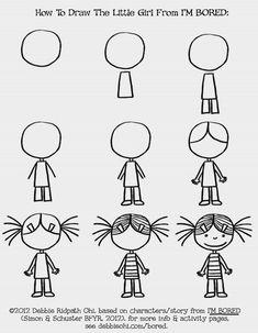 Easy people drawings, easy doodles drawings, learn to draw, drawing people, Art Drawings For Kids, Doodle Drawings, Drawing For Kids, Easy Drawings, Doodle Art, Art For Kids, Doodle Kids, Little Girl Drawing, Doodle People