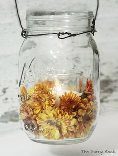 {Autumn Decor} Mason Jar Mum Candles