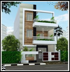 22 feet by 45 Modern House Plan With 4 Bedrooms Modern House Exterior bedrooms feet house modern Plan Bungalow House Design, House Front Design, Small House Design, Modern House Design, Duplex Design, Front Elevation Designs, House Elevation, Indian House Plans, Home Building Design