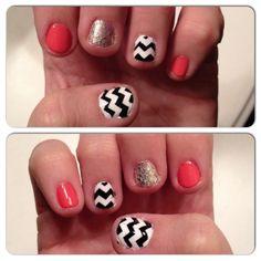 Chevron nails Nail art Essie Nail polish