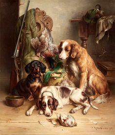 View Three dogs after the hunt by Carl Reichert on artnet. Browse upcoming and past auction lots by Carl Reichert. Realistic Paintings, Old Paintings, Animal Paintings, Hunting Art, Hunting Dogs, Grouse Hunting, Hunting Drawings, Animal Painter, Dog Corner
