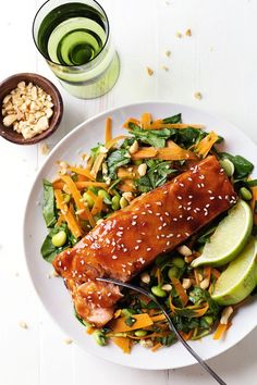 This Simple Hoisin Glazed Salmon has a sauce made from scratch that is brushed over the salmon and baked to perfection. Simple Hoisin Glazed Salmon Simple Hoisin Glazed Salmon: a easy homemade glaze makes this salmon extra yummy. Healthy Salmon Recipes, Fish Recipes, Seafood Recipes, Dinner Recipes, Cooking Recipes, Cooking Food, Superfood, Glazed Salmon, Comfort Food