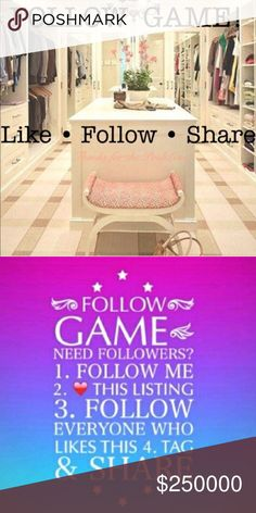 Let's grow together!!!  MY 1st FOLLOW GAME!!! Goal 250,000 followers 😅.  I could sure use the help getting there!!!!! 💋💋💋.  Follow, Like, Share     And if you could, tag some of your favorite PFF's to join as well... Other