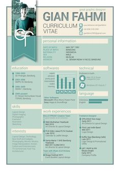 Curriculum Vitae by Gian Fahmi, via Behance Graphic Design Cv, Cv Design, Word Design, Resume Design, Resume Layout, Resume Cv, Cv Template, Resume Templates, Modele Word