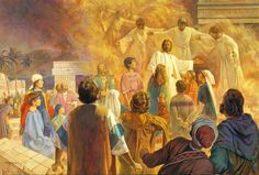 """Behold your little ones.""  Resurrected Jesus blesses the Nephite children and angels circle them with flames of love. art by Robert T Barrett"
