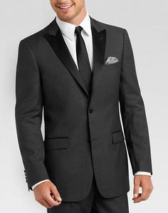 Tallia Charcoal Gray Herringbone Slim Fit Tuxedo... If I win the lotto, I'll wear these EVERY day.