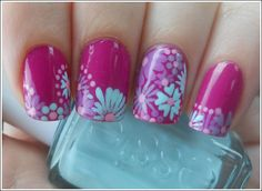 products used: OPI Ate Berries in the Canaries as the base and used OPI Done Out in Deco, Essie Turquoise and Caicos, and Sally Hansen Lively Lilac for the petals. the centers of the flowers are Wet n Wild Tickled Pink.    http://www.temptalia.com/spotlight-on-spring-nail-art-and-looks