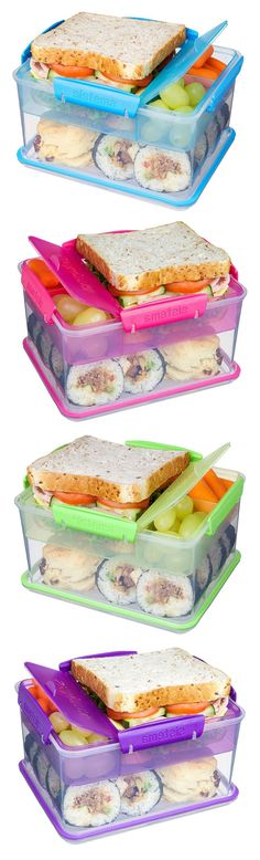 Lunch-to-Go Box // Compact tub design with separate compartments keeps food from getting soggy, and super fresh! #product_design